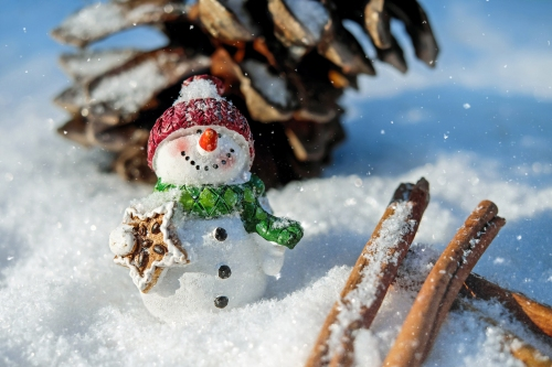 Toy snowman in the snow.